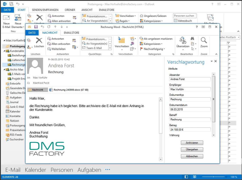 EmailStore Verschlagwortung