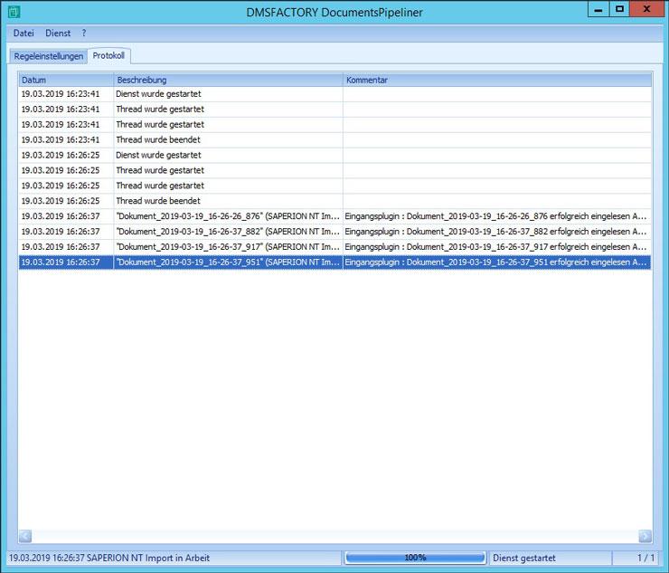 Das Live Protokoll des DocumentsPipeliners