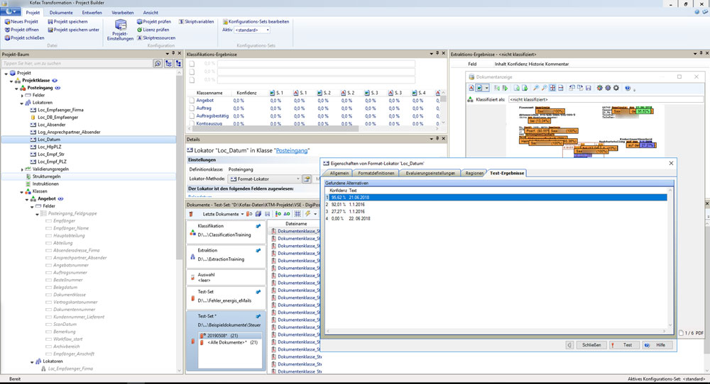 Kofax Transformation - Datumserkennung mit Konfidenzintervall