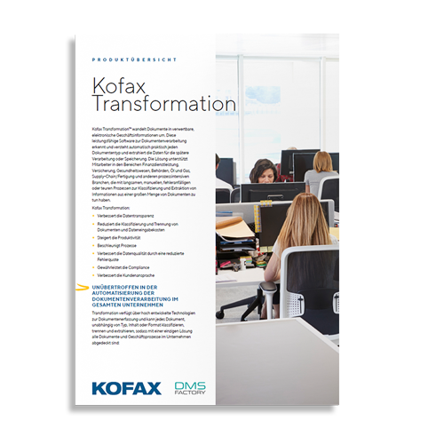 Kofax Transformation Produktinformation