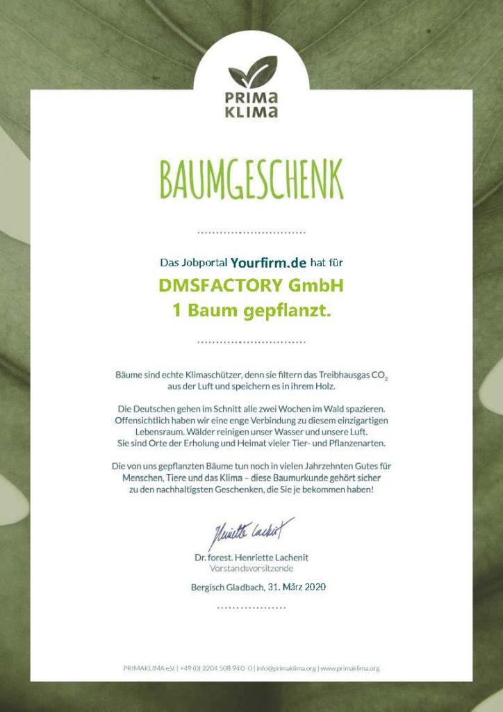 DMSFACTORY Baumpflanzurkunde von Yourfirm