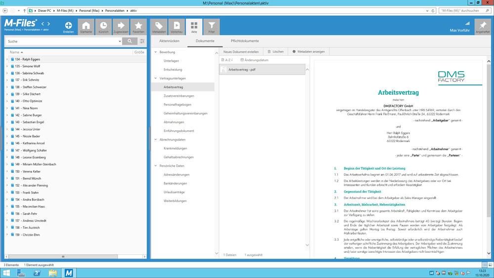 Digitale Personalakte - Übersicht Dokumente