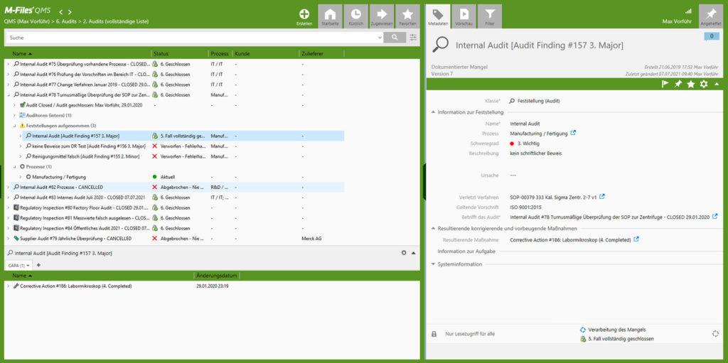 M-Files QMS - Audit finding